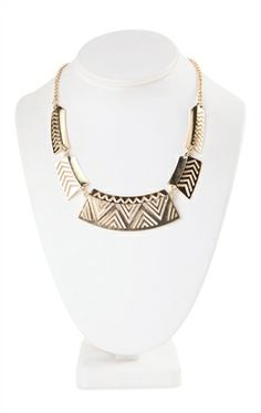 Deb Shops Short Statement Necklace with Cut Out Tribal Discs $10.00