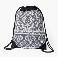 Buy 'Unique Vintage Ethnic Inspired Blue and White Damask' by pugmom4 as a Graphic T-Shirt, Women's Chiffon Top, Contrast Tank, Graphic T-Shirt Dress, A-Line Dress, iPhone Case/Skin, iPhone Wallet, Case/Skin for Samsung Galaxy, Poster, Thr...