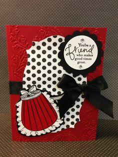 Apron Fabric Card for April Class at Paula Luvs 2 Stamp http://paulaluvs2stamp.typepad.com/blog/