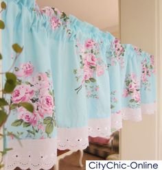 Country Style French Provincial Home Kitchen Blue Pink Rose Plaid Cafe Curtain | eBay