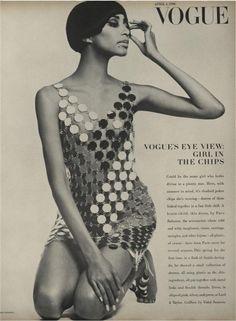 Paco Rabanne Designs. Donyale Luna shot by Guy Bordin. Vogue, April 1, 1966.