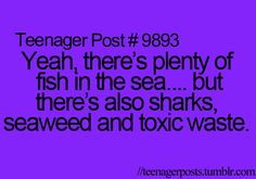 Yeah, there's plenty of fish in the sea..... but there's also sharks, seaweed, and toxic waste.