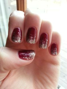 Simple glitter fade: Start with two coats of color. Choose a glitter polish and wipe most of the glitter off the brush. Start midway down your nail and drag the glitter to the tip of the nail. After making the first light coat, add another thin coat midway down the glitter section (essentially 1/4 of your nail). Then do a third coat of glitter on the very tips of your nails, like the white section of a French manicure. Add more glitter wherever it seems scarce, making sure to use small…
