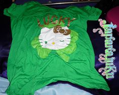 This is a very pretty Hello Kitty St. Patrick's Day shirt. I've only worn it once. I am selling it because it's too big for me. It's a medium in juniors but I believe it can fit a size  large in petite. Clean, comes from a smoke and pet free home. Order it today!