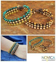 Tigers eye and jasper wristband bracelets - Autumn Sukhothai (pair) - NOVICA