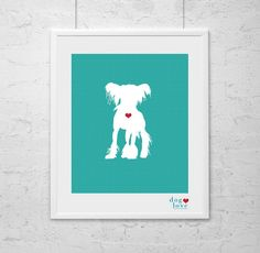 Dog Silhouette  Chinese Crested  Custom  8x10 Art by DogLoveShoppe