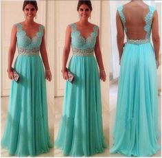 2014 New Arrival Fashion Deep V neck Back Open Beaded See Through Prom Long Chiffon Turquoise Evening Dress $99.00