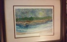 Painting by Artist -Lightning on the Shores-Watercolor,autographed.