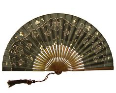Antique Black Hand Painted Silk Fan, Painted In An Asian Manner With Delicate Flower Petals In White And Grey With Scrollwork Motif, Hand Sewn Sequins, Carved Wood Sticks Hand Painted With Leaf And Vase Motif c. Antique Fans, Vintage Fans, Or Antique, Vintage Items, Painted Leaves, Hand Painted, Painted Silk, Hand Held Fan, Hand Fans