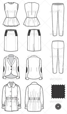 Fashion Flat Sketches for Womens Leather Wear - Man-made objects Objects