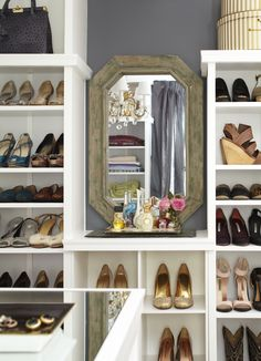closet-shoes shelves and vintage mirror-a mere life