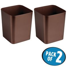 mDesign Square Shatter-Resistant Plastic Small Trash Can Wastebasket, Garbage Container Bin for Bathrooms, Powder Rooms, Kitchens, Home Offices - Pack of 2, Venetian Bronze Finish