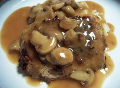 "COUNTRY FRIED STEAK WITH BROWN GRAVY: ~ From: ""FaveSouthernRecipes.Com."" ~ Recipe Courtesy of: SHELBY from ""THE LIFE & LOVES OF GRUMPY'S HONEYBUNCH."" ~ The steak gets even better once it is doused in the flavorful brown mushroom gravy. This delicious fried steak with gravy is best served with homemade mashed potatoes."