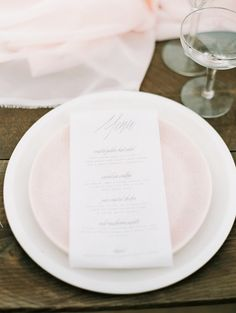 menu place setting | Blush coastal wedding inspiration  | Photo by Fine Art Photography | Read more - http://www.100layercake.com/blog/?p=74029