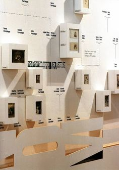 Shadow box organization chart, milestones chart, product feature too Museum Exhibition Design, Exhibition Display, Exhibition Space, Design Museum, Exhibition Stands, Display Design, Store Design, Branding And Packaging, Identity Branding