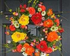 spring wreath summer wreaths for front door wreaths poppy spring wreaths decorations outdoor front door wreaths
