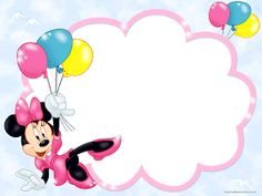 Kids Transparent Frame with Minnie Mouse and Balloons Minnie Mouse Clipart, Baby Mickey Mouse, Mickey Minnie Mouse, Mickey Mouse Frame, Disney Scrapbook, Scrapbooking, 365 Kawaii, Disney Frames, Minnie Mouse Pictures
