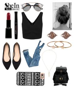 """""""Win a Fab Black V-Neck Top - Shein contest"""" by ana-silva-386 ❤ liked on Polyvore featuring American Eagle Outfitters, Christian Dior, Giorgio Armani, Bourjois, Eddie Borgo, Topshop and Casetify"""