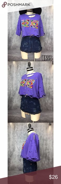 MY NAME IS PANAMA VINTAGE DISTRESSED PATCHWORK TOP MY NAME IS PANAMA VINTAGE DISTRESSED PATCHWORK CROP TOP!! PERFECT CROP TOP FOR SPRING/SUMMER!! 100% COTTON super soft and worn in faded purple top! COLORFUL patchwork design on front is sooooo ADORABLE! Distressing all over garment, heavy at neckline, cuffs and bottom hem! MEASUREMENTS - BUST: 21.5' / LENGTH: 15' Marked size MEDIUM #festival #concert #grunge #party Vintage Tops Crop Tops