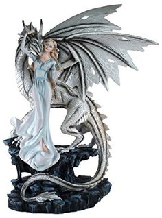 """Custom & Unique {18"""" x 14"""" Inch} 1 Single, Large Home & Garden """"Standing"""" Figurine Decoration Made of Grade A Resin w/ Girl w/ Crystal Ball & Winter Dragon Style {White, Blue, & Black}"""