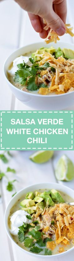 This white chicken chili is packed with protein-rich cannellini beans and chicken, and spicy salsa verde for a little kick. All you need are 10 healthy ingredients, 1 pot, and 30 minutes. No need to stand over a simmering pot all afternoon.