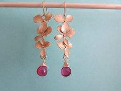 Gold Orchid Earrings with Hot Pink Quartz by AshleyTorreyDesigns, $22.00