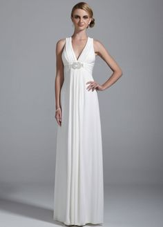 $159 Love this for my future Vow Renewals. Long Jersey Gown with Beaded Knot Detail - style #xs4226 David's Bridal - mobile