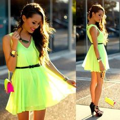 Lime green dress w/ black strappy heels.