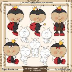 Lady Bug Princess 1 Clip Art & Digital Stamp Set by Alice Smith
