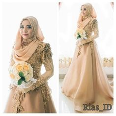 The is looking elegant in gold Make up artist: (Susi Nuryanti) Gown by Rias_ID from Photo by . by muslimweddingidea. Muslimah Wedding Dress, Muslim Brides, Muslim Dress, Pakistani Wedding Dresses, Wedding Party Dresses, Bridal Dresses, Wedding Cakes, Muslim Couples, Bridal Hijab