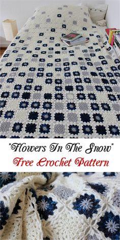 """[Stunning] """"Flowers In The Snow"""" - Free Crochet Pattern #crochet #flowers #pretty"""