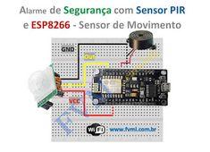 Hoje, vamos fazer um sensor PIR se comunicar com o NodeMCU ESP8266, e detectar a presença de alguém, e ativar um alarme sonoro utilizando um Buzzer. Você também pode acompanhar o passo a passo em nosso vídeo que está disponível no final desse Post. Wi Fi, Arduino, Internet, Security Alarm, Automatic Doors, Lets Go