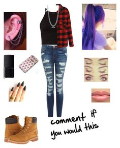 """""""Comment plzz"""" by andrea1211cookie ❤ liked on Polyvore featuring Current/Elliott, Timberland, BERRICLE and NARS Cosmetics"""