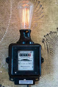 Wall Lights - Electricity Meter Lamp Retro with Dimmer - a Desi .- Wandleuchten – Stromzähler Lampe Retro mit Dimmer – ein Designerstück von -bLi… Wall Lights – Electricity Meter Lamp Retro with Dimmer – a unique product by -bLitZ- on DaWanda - Lampe Retro, Retro Lamp, Lampe Art Deco, Steampunk Lamp, Pipe Lamp, Gifts For Office, Industrial Lighting, Task Lighting, Lamp Light