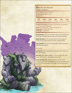 Mountain Giant Dungeons And Dragons 5e, Dungeons And Dragons Homebrew, Fantasy Creatures, Mythical Creatures, Mythological Creatures, Dnd Stats, Blood Mage, Dnd 5e Homebrew, Dnd Monsters
