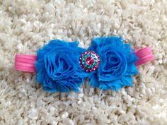 Blue Shabby Flower Infant Headband by HannahHeadbands on Etsy, $7.00