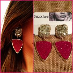 fuchsia & gold statement earrings by shop616couture on Etsy, $65.00