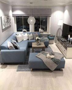 Blue sofa,cozy living room - Wohnzimmer - Home Narrow Living Room, Small Apartment Living, Cozy Living Rooms, Home Living Room, Interior Design Living Room, Living Room Designs, Living Room Decor Blue Sofa, Small Living, Corner Sofa Living Room
