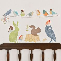 love these wall decals!...birds for nursery, woodland animals for 2-3's