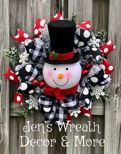 Christmas wreath, Snowman wreath, Winter wreath, Holiday wreath
