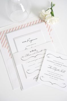 French wedding invitations in blush with stripe accents! Ask us how we can customize this invitation to fit your wedding theme!  http://www.shineweddinginvitations.com/blog/chic-country-wedding-invitations-in-blush/