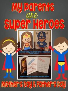 Super Hero Mother and Father's Day cards