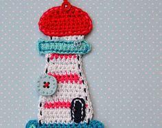 Crochet lighthouse appliqué - pattern DIY