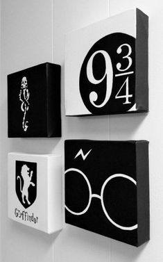 All black and white harry potter paintings. a set of 4 harry potter minimalist hand by shinyshoesndecor Harry Potter Magie, Objet Harry Potter, Décoration Harry Potter, Harry Potter Canvas, Harry Potter Wall Art, Harry Potter Painting, Harry Potter Bedroom, Harry Potter Tumblr, Harry Potter Birthday