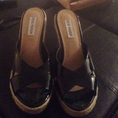 Patent leather wedge Great summer wedge! Only worn around the house Steve Madden Shoes Wedges