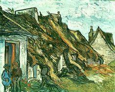 Thatched Cottages in Chaponval, Auvers-sur-Oise, 1890, Vincent van Gogh Size: 65x81 cm