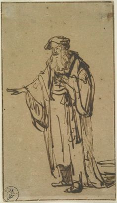 Rembrandt van Rijn – A Standing Old Man, c. 1638, Brown ink | Harvard Art Museums