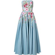 Marchesa Notte floral embroidered dress (€1.275) ❤ liked on Polyvore featuring dresses, 02 dresses, dresses 4, gown, marchesa, blue, notte by marchesa, blue dress, blue color dress and floral embroidery dress