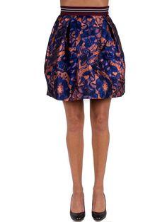 PINKO - Gonna a palloncino ORTUGO con elastico in vita - Blu/Arancio - Elsa-boutique.it <3 #Pinko