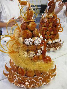 Tall Croquembouche Wedding Cake